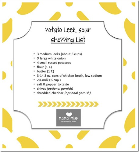potato leak soup shopping list