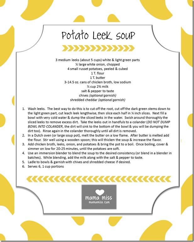 potato leak soup recipe