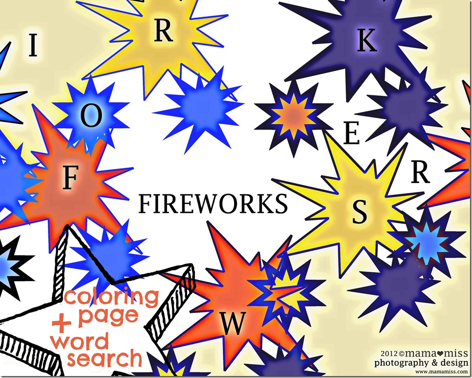 Fireworks Coloring Page + Word Search   Mama Miss #fireworks #coloring #the4th